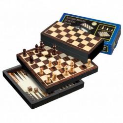Coffret magnétique dames-échec-backgammon