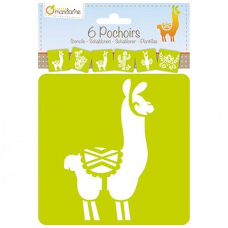 Set 6 pochoirs enfants : lama