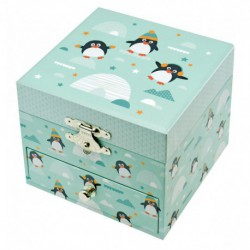 Boîte à musique cube phosphorescent : pingouin