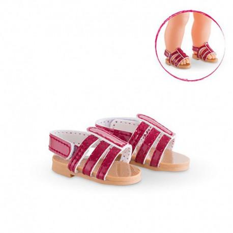Sandales cerise pour poupée ma Corolle