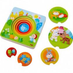 Puzzle en bois : bébés animaux multicolores