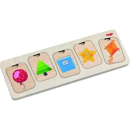 Puzzle en bois : formes et couleurs