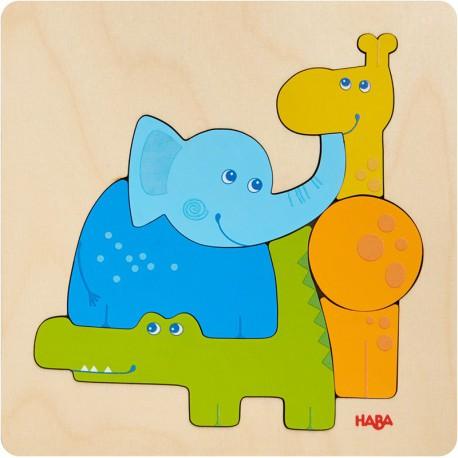 Puzzle en bois : animaux du zoo