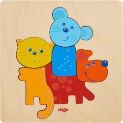 Puzzle en bois : animaux familiers
