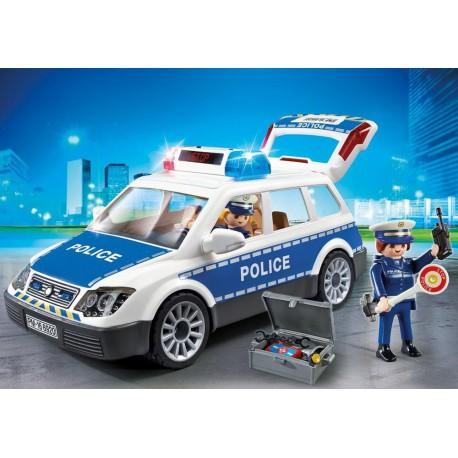 Voiture de policiers avec gyrophare et sirène