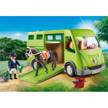 Cavalier avec van et cheval