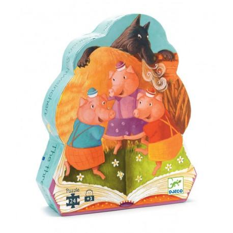 Puzzle silhouette : les trois petits cochons