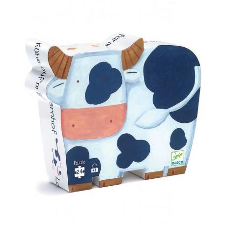 Puzzle silhouette : les vaches à la ferme