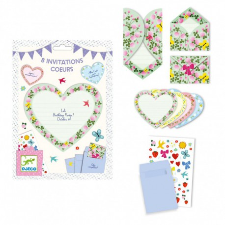 Cartes d'invitation : cœurs