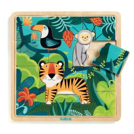 Puzzle éducatif bois : jungle