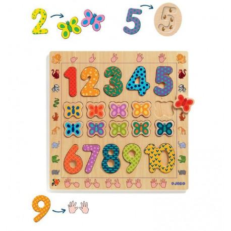 Puzzle éducatif bois : 1 à 10