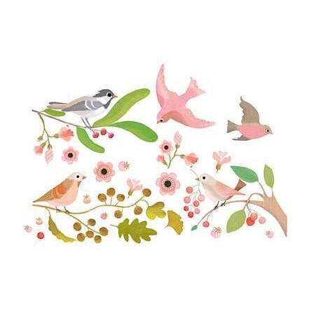 Stickers fenêtre : oiseaux romantiques