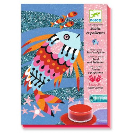 Sables colorés : arcs-en-ciel de poissons