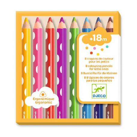 8 crayons de couleur pour les petits