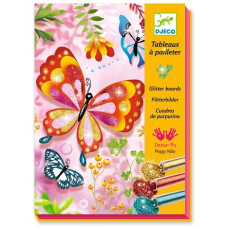 Tableau à pailleter : papillons à paillettes