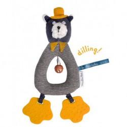 Les Moustaches : anneau-hochet chat gris Alphonse
