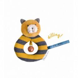Les Moustaches : anneau-hochet chat moutarde Lulu