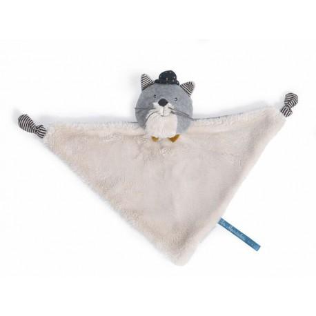 Les Moustaches : doudou chat gris clair Fernand