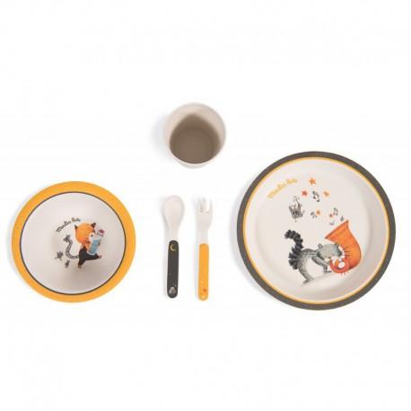 Les Moustaches : set de vaisselle en bambou