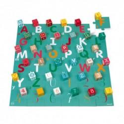 Janod - Kubix 40 cubes + Puzzle lettres et chiffres