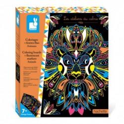 Janod - Coloriages + feutres fluo Animaux