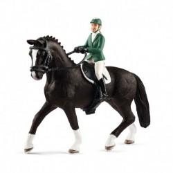 Cavalière de saut d'obstacles et cheval