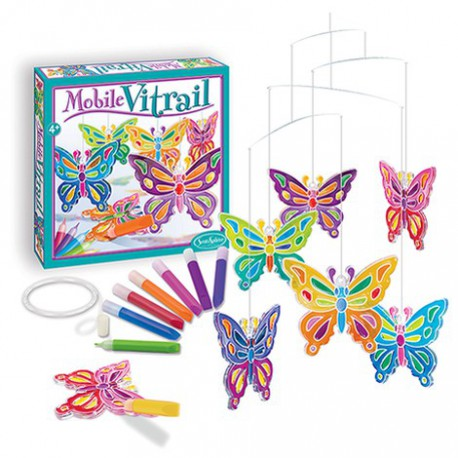 Mobile vitrail : papillons